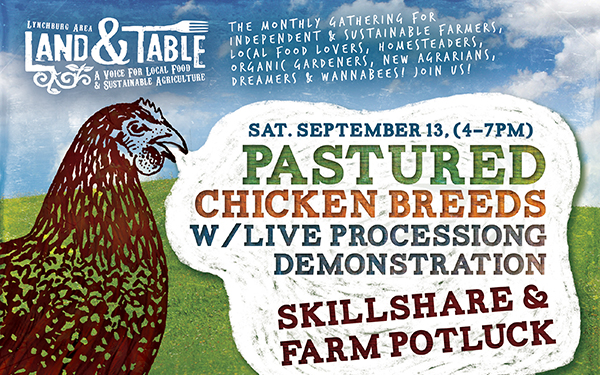 Pastured Chicken Breeds Skillshare and Farm Potluck | Sept. 13