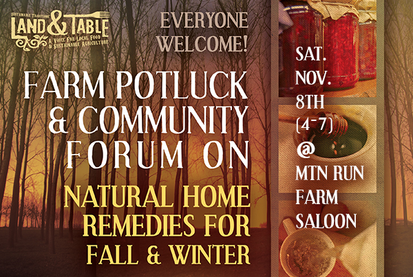 Farm Potluck and Natural Home Remedies Forum | Nov 8