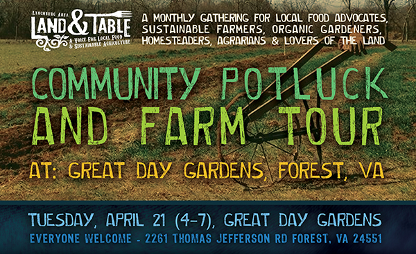 Community Potluck and Farm Tour at Great Day Gardens – April 21