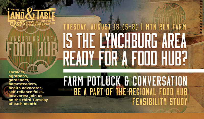 Lynchburg Area Food Hub Study and Farm Potluck – August 18