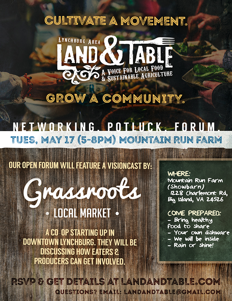 Land and Table - May 2016 event flyer