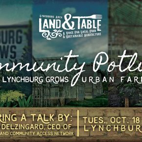 Community Potluck at Lynchburg Grows with Free Clinic of Central VA - Oct. 18