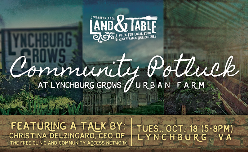 Community Potluck at Lynchburg Grows with Free Clinic of Central VA – Oct. 18